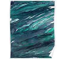 AGATE MAGIC, DARK TEAL Blue Green Marble Pattern Watercolor Abstract Painting Poster