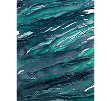 AGATE MAGIC, DARK TEAL Blue Green Marble Pattern Watercolor Abstract Painting Photographic Print