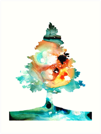 Rainbow Tree 1 - Colorful Abstract Tree Landscape Art by Sharon Cummings