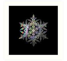 Iridescent Fractal Snowflake on a Black Background Art Print