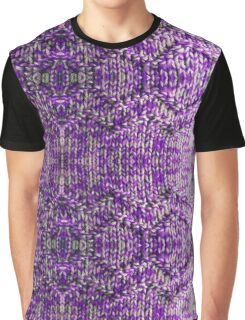 Knitted Purple Pattern Graphic T-Shirt