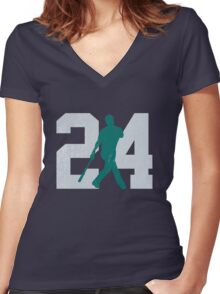 The Kid (Teal & Gray) Women's Fitted V-Neck T-Shirt