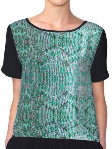 Turquiose Knitted Pattern Chiffon Top