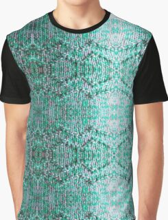 Turquiose Knitted Pattern Graphic T-Shirt