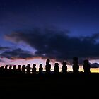 Twilight, Ahu Tongariki, Rapa Nui, Chile. by Graham Gilmore