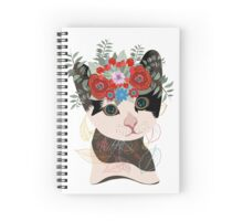 Cute card with lovely cat. Cat in a wreath of flowers Spiral Notebook