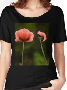 Couple Pink Oriental Poppies  Women's Relaxed Fit T-Shirt