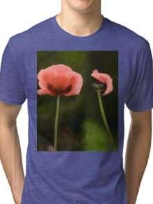 Couple Pink Oriental Poppies  Tri-blend T-Shirt
