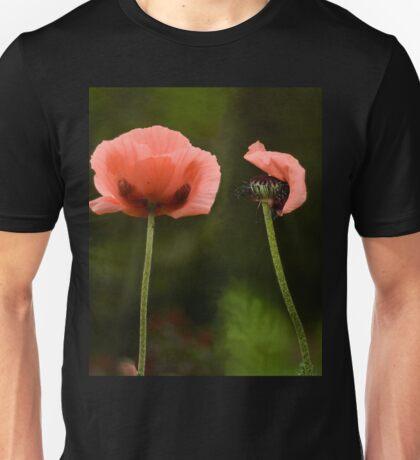 Couple Pink Oriental Poppies  Unisex T-Shirt