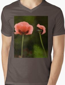 Couple Pink Oriental Poppies  Mens V-Neck T-Shirt