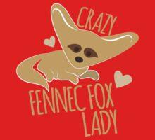 Crazy Fennec Fox Lady Kids Tee