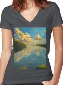 Volga Landscape Women's Fitted V-Neck T-Shirt