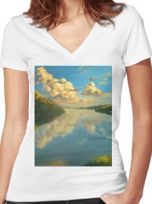 Volga Landscape Women's Fitted V-Neck T-Shirt