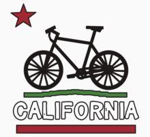 California Flag (Black Bicycle) (Large & Centered) One Piece - Short Sleeve