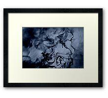 Blue-Black Ink Swirl Framed Print