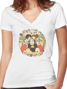 collage ghibli familly Women's Fitted V-Neck T-Shirt