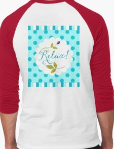 Relaxing Zen nature and pattern message, olive, berries Men's Baseball ¾ T-Shirt