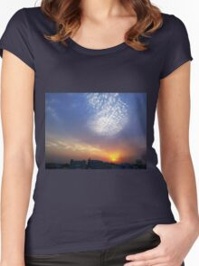 Balloon of clouds at Sunset Women's Fitted Scoop T-Shirt
