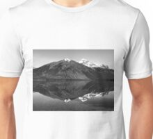 Mirror Reflection in Lake McDonald ~ Black & White Unisex T-Shirt
