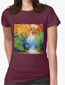 Tardis Oil Painting Womens Fitted T-Shirt