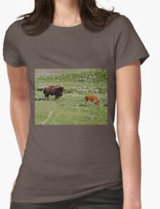American Bison in Yellowstone National Park Womens Fitted T-Shirt