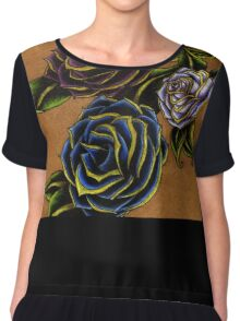 Bold, Elegant Roses Tattoo Design Chiffon Top