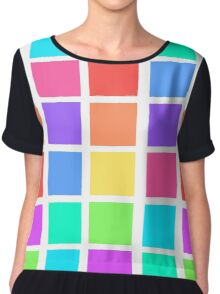 Rainbow Grid Chiffon Top