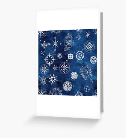 Sky navy and white compass Greeting Card