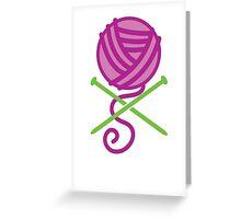 DANGEROUS knitter! Knitting wool ball and Needles crossbones in purple Greeting Card