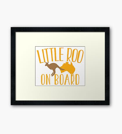 Little roo on Board (Australian pregnancy meternity design) Framed Print