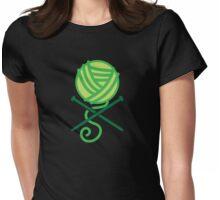 Knitting pirate knitter crossbones (green) Womens Fitted T-Shirt