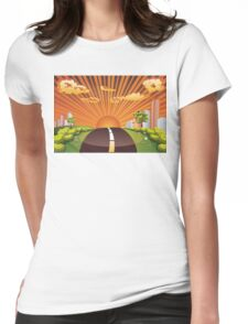 Green Field and City 2 Womens Fitted T-Shirt