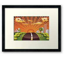 Green Field and City 2 Framed Print