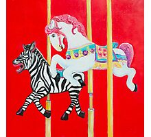 Horse and Zebra Carousel painting Photographic Print