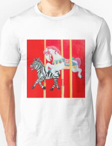 Horse and Zebra Carousel painting T-Shirt