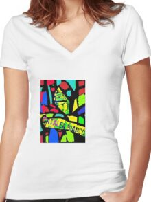 Stain Glass window Women's Fitted V-Neck T-Shirt
