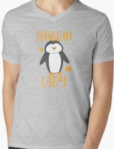 Penguin Lady Mens V-Neck T-Shirt