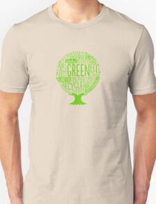 Earth Day Tree Word Fill Organic Compost Sustainable Recycling funny tshirt T-Shirt