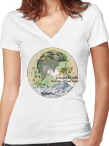 behind the sea Women's Fitted V-Neck T-Shirt