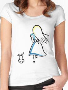 Alice and the White Rabbit Women's Fitted Scoop T-Shirt