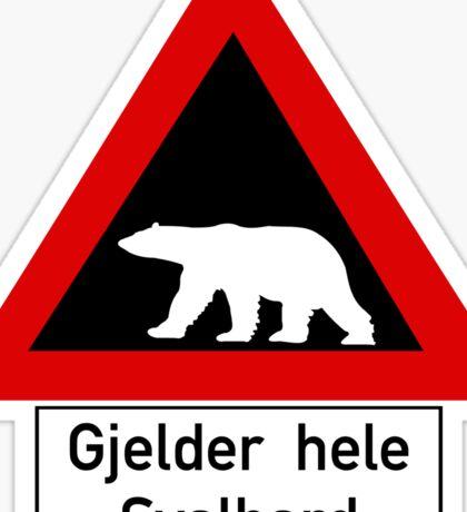 Beware of Polar Bears Sign, Norway Sticker