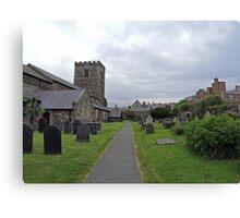 A Walk by St Mary's Church, Conwy Canvas Print