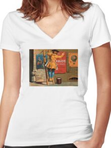 French Vintage Poster 1880 Restored Women's Fitted V-Neck T-Shirt