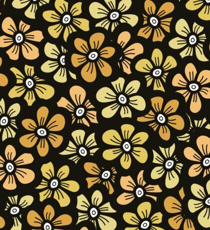 seamless yellow flower doodle pattern Sticker