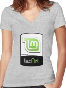 Linux MINT ! [HD] Women's Fitted V-Neck T-Shirt