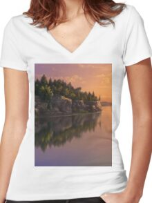 Stone Hill Landscape Women's Fitted V-Neck T-Shirt