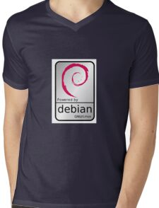 Powered by DEBIAN ! Mens V-Neck T-Shirt