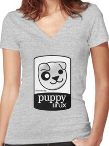 Powered by Puppy ! Women's Fitted V-Neck T-Shirt