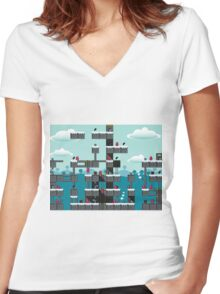 Arcade game Women's Fitted V-Neck T-Shirt