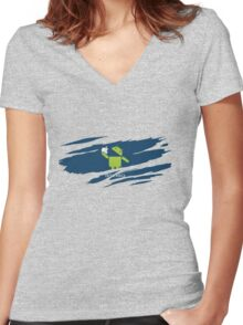ANDROID EATS APPLE ! Women's Fitted V-Neck T-Shirt